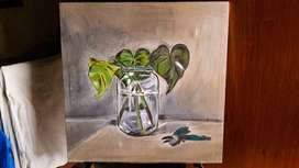 Oil painting-Swiss cheese plants in a glass jar.