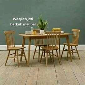 (meja makan Waqi'ah) Meja makan model Retro modern & mewah kursi 4,