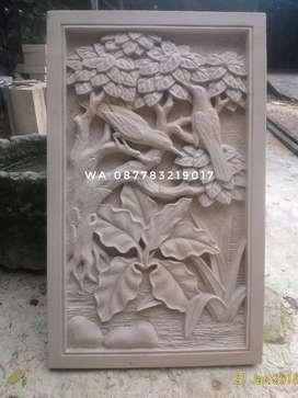 Relief ukir batu paras ornamen batu alam asli