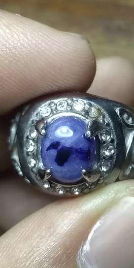 Natural blue safir iket titanium tebal