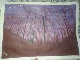 Night scene viewed standing below the trees with water color