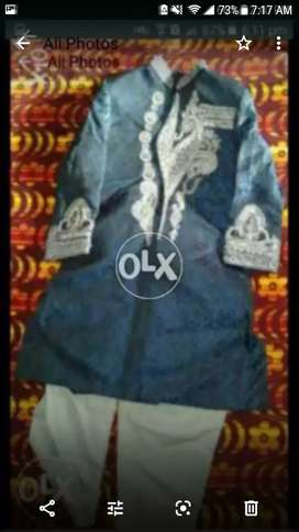 Fancy hand work blue sharwani suit and red mehrun sherwani with culla