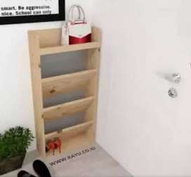 Rak Sepatu & Tas Multifungsi Bahan Full Kayu Jati Belanda Solid