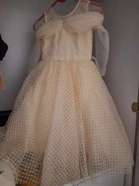 Beige colour net flared gown for 3 to 4 years girl