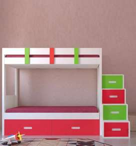 Bunk bed ivory, strawberry red and green in color