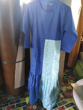 Baju gamis anak tanggung polkadot 6-8 tahun