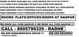 offices /shops/flats/banglows/rooms available on rent all over nagpur
