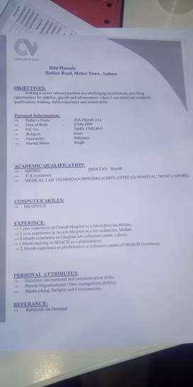 Medical lab technician.. experience