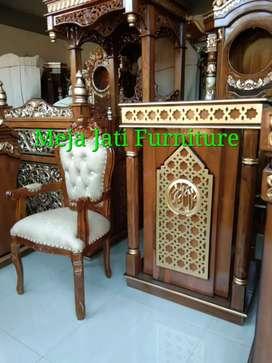 Mimbar masjid R63 kayu jati  natural talk