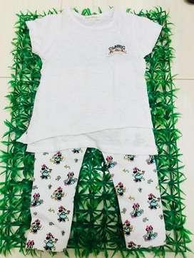 Atasan classic white + legging minnie disney size 1-2thn
