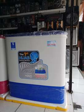 mesin cuci 8 kilo setengah merk Aqua dll