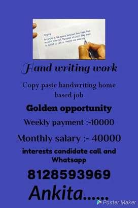 Manual handwriting home based job