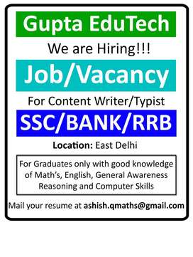 Urgent Data entry, back office, content writer