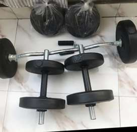 Dumbell n barbell set 20 kgs 3500 only timepassers stay away.