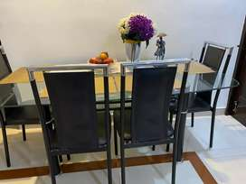 6 seater Glass Dining table set with chairs