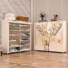 Double row shoes rack for storage of shoes