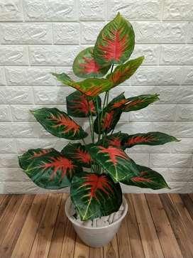 Daun keladi merah artificial 18daun 70cm