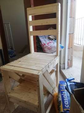 Wooden Chair plus Ladder, 2 in one by MJ. Furniture