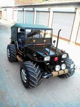 Open Modified hunter Jeep Ready for Off Roading Drive