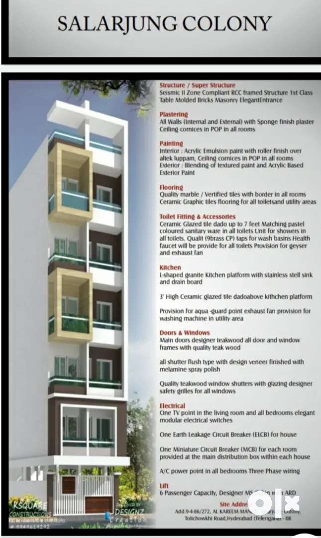 3bhk flats for sale @Salarjung colony available on 2nd 3rd  floor