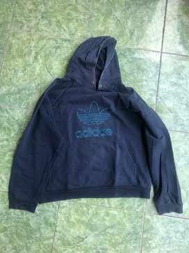 Jaket sweater adidas biru M