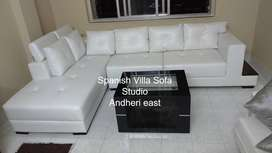 L corner wooden sofa set with 5 years made from  saal wood of 8x6 size