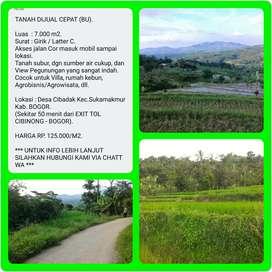 Tanah murah dgn View indah 7.011 m2, 50 menit dr TOL CIBINONG-BOGOR.