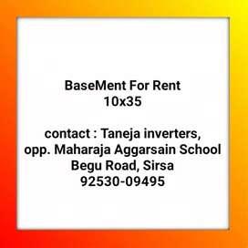 Basement available 10x36 Begu Road, Sirsa, near Co-operative bank