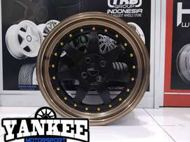 Cicil Velg Mobil HSR Model POWER Ring 17 PCD 4X100-114,3 DP 10% BK BRZ