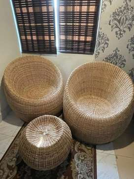 Ban made Chairs (pair) & Table, not used