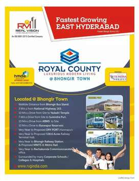 Residential plot for sale at bhongir town it is hmda approved layout