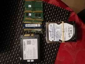 Laptop hard disks, ssd 512, and rams DDR4...