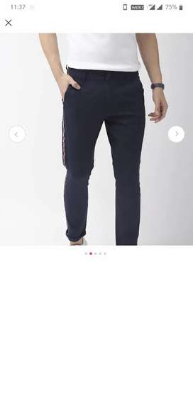 Mast & Harbour Navy blue solid chinos