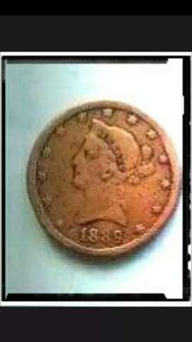Uang koin U.S.A. antik Th.1889.