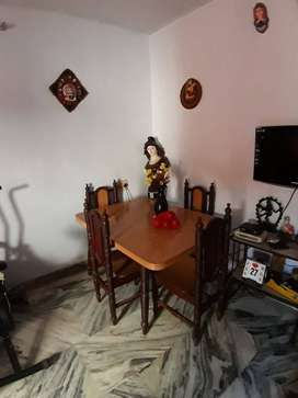 Dining Table and Cane Sofa Set with glass top table and stool