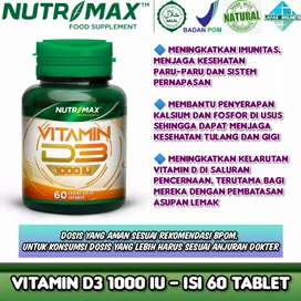 Nutrimax D3 1000iu Tingkatkan imun tubuh, kesehatan tulang, calcium