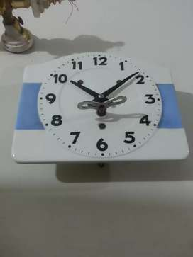 Antique vintage wall clock Germany blue white
