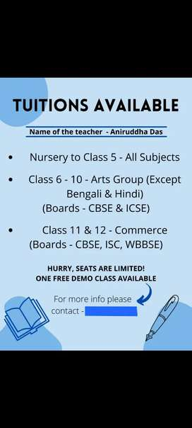 Tuitions available *one free demo class*