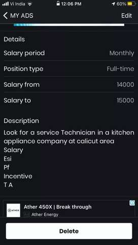 Looking for a technician at calicut for a kitchen appliance  firm