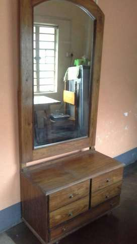 Brown Wooden Framed Mirror With Cabinet