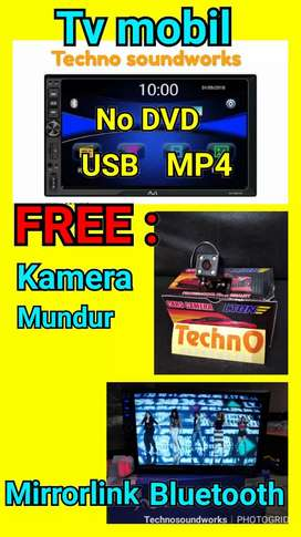 Tv tape doubledin 7 in usb mobil plus kamera mundur paket sound murah