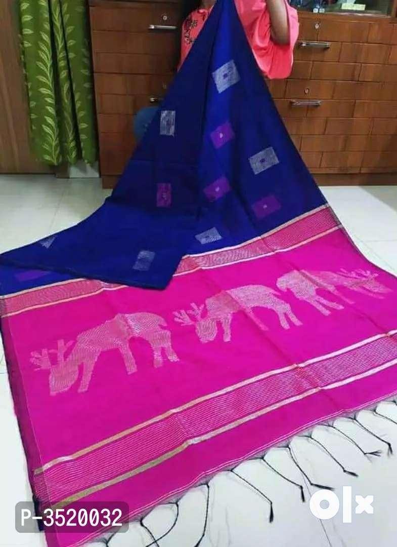 Hiran Motif Pallu Woven Design Cotton Silk Sarees 0