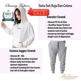 AM00596 Celana Setelan Satu set Sweater cewek dan celana joger