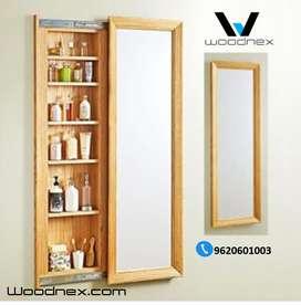 Mirror slider storage Modern Design Natural Cut Wooden Furniture Water