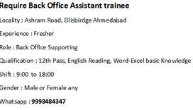 Require Back Office Assistant trainee