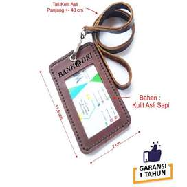 Name Tag Id Kulit Asli Logo Bank DKI Warna Coklat - GARANSI 1 TAHUN
