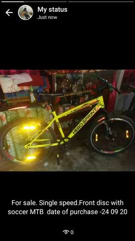 Sprint mtb single speed with front disc and suspension