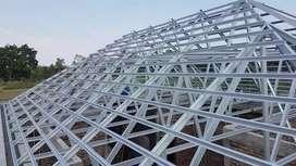 Pemasangan rangka atap baja ringan + genteng metal pasir