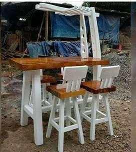 Kursi bar bahan kayu jati finisingan