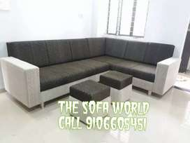 Square handle design sofa with 2 stools